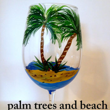 Palm Tree WIne Glass, Beach Wine Glass, Painted Glass