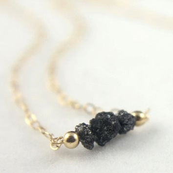 14K Yellow Gold Necklace - Black Rough Diamonds - Raw Uncut Diamonds - Solid Gold Necklace - Made to Order