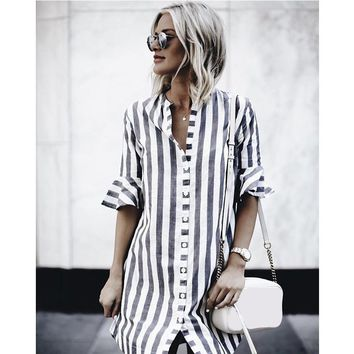 2018 Hot Sale Women's Black And White Striped Dress Casual Flare Half-sleeved Loose Dresses Women Button Shirt Dress Vestidos