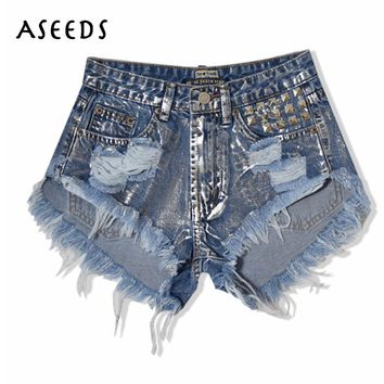2017 summer tassel women jeans shorts vintage punk sliver rivet ripped denim women shorts Street fashion high waist shorts
