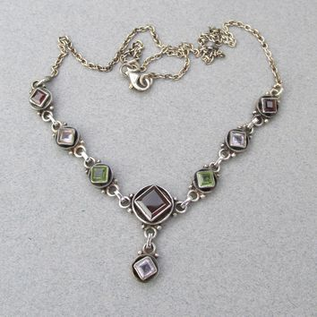 Pretty Vintage Sterling Silver Gemstone Y Necklace, Garnet, Peridot, Amethyst