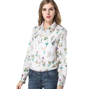 Stylish Flowery Chiffon Blouse