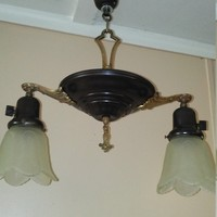 Vintage Victorian Pan Chandelier Brass Accents 2 Frosted Shades Genie Lamp Style 1920s