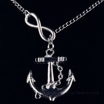 Lariat Infinity Anchor Necklace-simple necklace, gifts for sister, nautical necklace lariat necklace, small necklace, stocking stuffer gifts