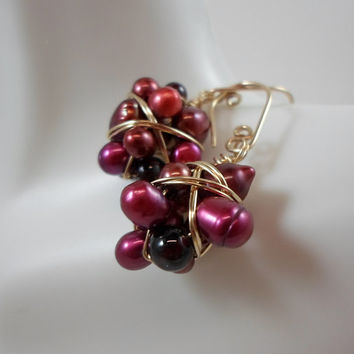 Garnet & Freshwater Pearl Earrings/ Gold Fill Jewelry/ Handmade Gold Earrings/ Wire Wrapped Beads/ Handmade Cluster Beads/ Dangle Earrings