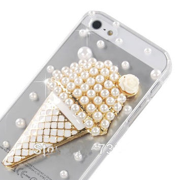 3D Bling Pearl Rhinestone Ice cream Phone Cases Cover for iPhone 5s 6 6s Plus 7 7Plus-04410