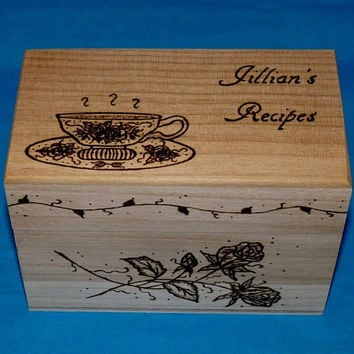 Personalized Recipe Box Wood Burned Recipe Box Custom Engraved Wedding Recipe Box Wood Box Victorian Tea Cup Bridal Shower Gift