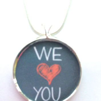 We LOVE You necklace-couples jewelry,inspirational,grandma,daughter,sister,mother,chalk board,heart,anniversary,wedding,