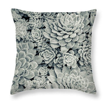 Succulents Abstract Pillow. Succulents Seat Cushion. Botanical Pillow Cover. Botanical Cushion. Nature Photo Art Home Decor. Gray Pillow