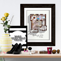 Sex and the City Apartment - Famous TV Show Floor Plan - Modern Art Poster for Residence of Carrie Bradshaw - Gift Idea for SATC Fan
