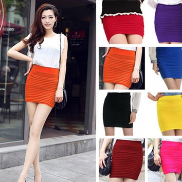High Waist Pleated Stretch Short Pencil Bodycon Skirt = 1705721988