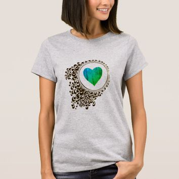 Abstract Circle Aqua Heart Art Tee Shirt