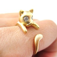Adorable Kitty Cat Kitten Sleek Animal Wrap Around Ring in Gold | US Sizes 4 to 8