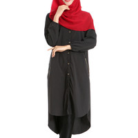 Muslim Long Shirt Solid Color Women Garments   black