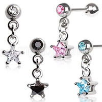 316L Surgical Steel Star Dangle Cartilage Earring