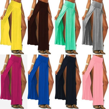 Hot Popular Trends Candy Color High Waist Skirt Open Fork Double Side Split Long Skirts Women Fashion New Maxi Skirts 18579 = 1958102532