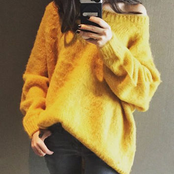 Yellow Off-The-Shoulder Long Sleeve Sweater