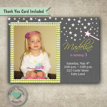 Fairy tale Birthday Invitation - Girl Invitation - Printable - Thank you card