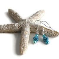 Aquamarine Crystal Pave' Earrings on .925 Sterling Silver Earwires