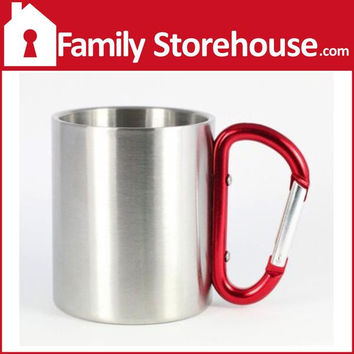 Stainless Carabiner 8 oz. Mug, Purple by AGS Brands