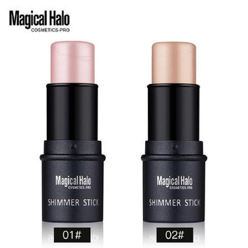 Magical Halo 2 Color Face Contouring Makeup Shimmer Stick Highlighter Stick Pen Brighten Skin 3D Face Bronzer Highlighter Powder