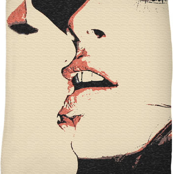 Girls love fleece throw blanket, sexy women kissing, lesbian artwork, red, black, beige