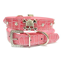 1PCS Diamante Rhinestone Crystal Skulls Small Dog Collar  Pink PU Leather Pet Collar Bling Fashion Adjustable Pet Collar