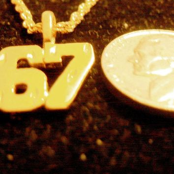 bling gold plated casino riverboat gaming number 67 sign symbol sport pendant charm rope chain hip hop trendy fashion necklace jewelry
