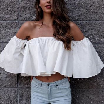 White Off the Shoulder Bell Loose Crop Top