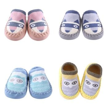 Baby Infant Cartoon Indoor Floor Soft PU Leather Thick Sole Non-Slip Newborn Shoes Socks Leg Warmers Baby Clothing