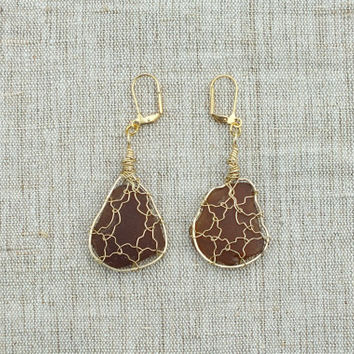 Genuine Brown Sea Glass Earrings Wire Wrapped in Brass - steampunk- price reduced by 25% beach glass earrings