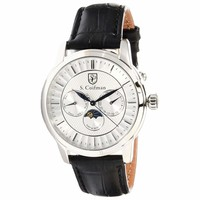 S. Coifman SC0210 Men's Quartz Silver Tone Dial Black Leather Strap Watch