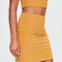Missguided - Orange Slinky Mini Skirt