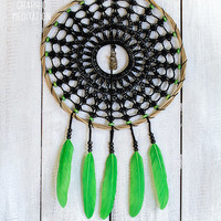 """Dream catcher with black doily 8"""", Crochet wall decor with handmade lace, Dreamcatcher for kids room decor, King frog endant"""