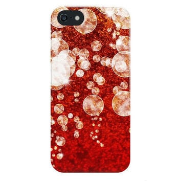 Red and Gold Bubbles iPhone Case, Samsung Galaxy Bokeh Snap Case, Christmas Phone Case