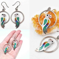 Vintage Taxco Sterling Silver Parrot Bird Hoop Pierced Earrings, Enamel, Glass, Inlaid, Mexico, Multicolor, Exotic, So Pretty! #c607