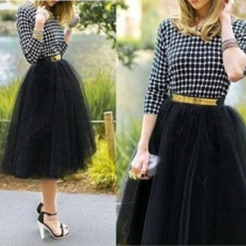 LMFON Plus size Fashion Tulle Skirts for Women Midi Black Fluffy Puff Highwaisted Unique Bottoms Skirt Clothes [8824203207]