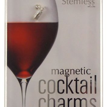 Going Stemless Golf Wine Charms Cocktail Magnetic Set 6 Drink Cart Ball Club Tee