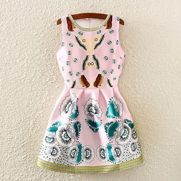 Pink Floral Print Sleeveless Pleated Dress