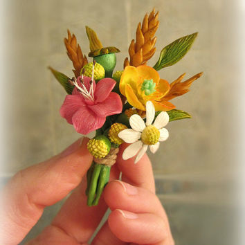 Floral brooch - Flowers - Camomiles - Nature - Bouquet - Handmade