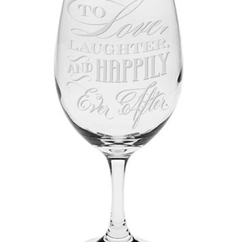 """To Love, Laughter, And Happily Ever After"" Laser Engraved 20 oz Wine Glass - Couples Gifts - Engagement Gift - Original Wedding Gifts - Custom Wedding"