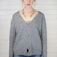 Cable Knit Front Slit Sweater Top