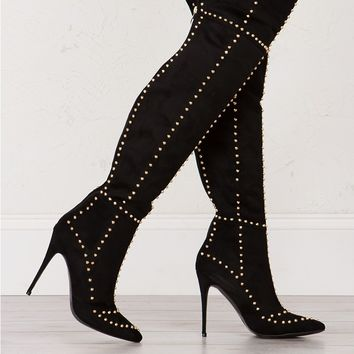 Studded Over The Knee Boots in Black