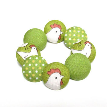 SALE - Easter fabric sewing buttons,set of 8, green cloth buttons, covered medium buttons, polka dot buttons, mix chicken hen vintage spring