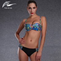 2016 landscape painting swimsuit Summer Bikini Sets new Swimwear Sexy Brazilian Push-up biquini Vintage Chinese style bikini