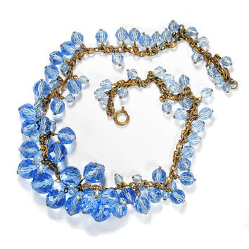 Vintage Art Deco Necklace Blue Czech Glass Beads Bib Charm Necklace Antique Art Deco Jewelry