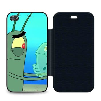 Plankton Spongebob Squarpants Leather Wallet Flip Case iPhone 4 | 4S