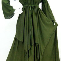 Green/dress peasant layer  L XL 1X 2X made to order  E007H (for a different size or color please email us)