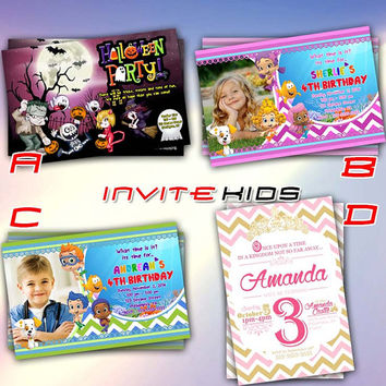 Hallowen Bubble Guppies Chevron Princess - Invitation Card - Birthday Party Kids - InviteKids