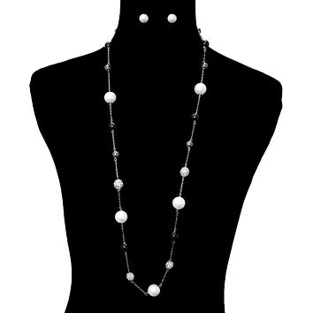 Pearl Long Necklace Set